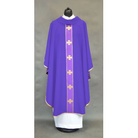 Chasuble with decorative cross belt - violet