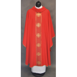 Chasuble with Jerusalem crosses - red