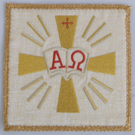 Ecru embroidered pall - Alpha and Omega