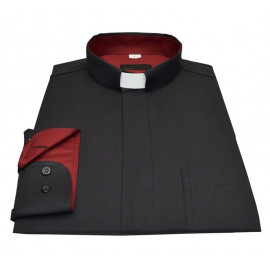 Clergy shirt - black with claret insertion