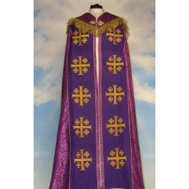 Embroidered cope - Jerusalem Cross Violet - rosette (3)