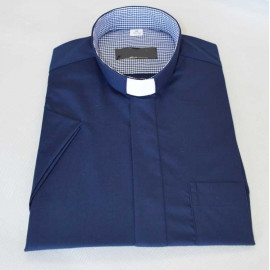 Clergy shirt - navy blue in a small grid