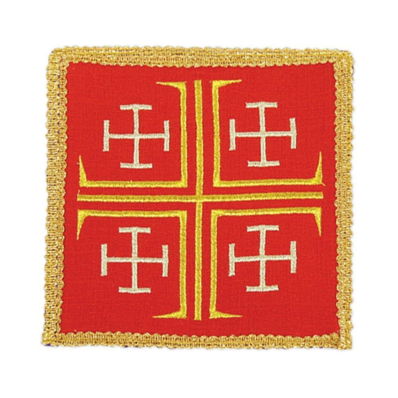 Red embroidered pall - Jerusalem Cross