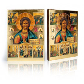 Icon of Christ the Pantocrator and scenes from life