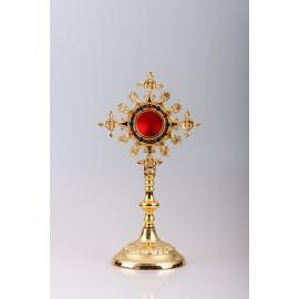 Reliquary gilded 25 cm - ornamental stones (12)