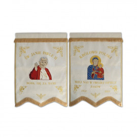 Double-sided banner Mother of God and John Paul II