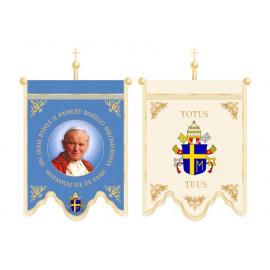Double-sided printed church banner - John Paul II