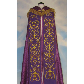 Embroidered cope - IHS violet - rosette (2)