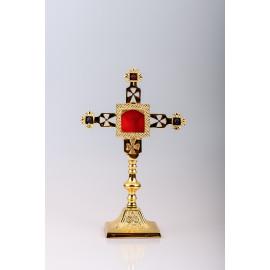 Reliquary gilded 25 cm + ornamental stones (11)