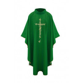 Chasuble with cross and thorns - green