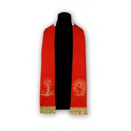 Red stole with Lamb - embroidered