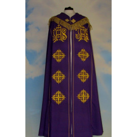 Embroidered cope - IHS (liturgical colors)
