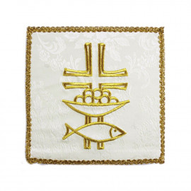 Pall embroidered white - Fish, cross