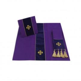Set of Burse, maniple and chalice veil (jacquard and velvet) - Purple