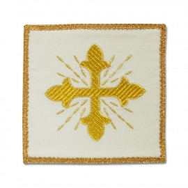 White embroidered pall, velvet - golden cross