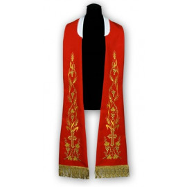 Red stole - Roman pattern, embroidered (183)