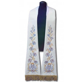 White stole - Roman pattern, embroidered (182)