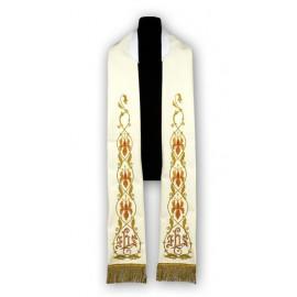 Cream stole - Roman pattern, embroidered (185)