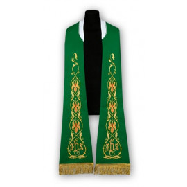 Green stole - Roman pattern, embroidered (184)