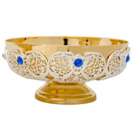 Paten decorated, brass, gold plated - 7 cm