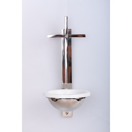 Brass holy water font, nickel plated cross - 31 cm