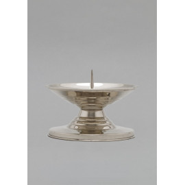 Brass candlestick, nickel-plated - 9 cm