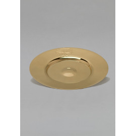 Paten with recess, brass, gold plated