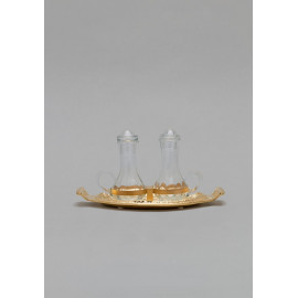 Brass tray, gold plated with ampoules