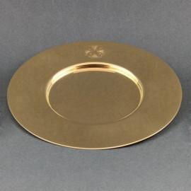 Gold-plated chalice paten, brass diameter 15.5 cm
