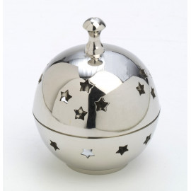 Silver, brass incense burner with lid - 10 cm