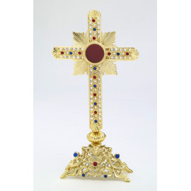 Reliquary with jewellery stones, gold-plated - 28 cm