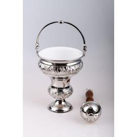 Holy water pot, brass + sprinkler (silver)