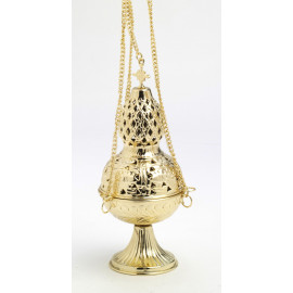 Brass thurible, gold-plated, decorated with a cross - 26 cm