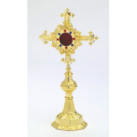 Reliquary with jewelry stones, gold-plated - 27 cm