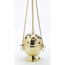 Brass thurible, gold colour (stars) - 15 cm