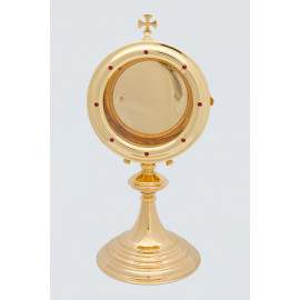Custody for a large host, brass, gold-plated - 36 cm