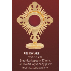 Brass reliquary, gold-plated - 13 cm (A)