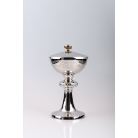Ciborium, brass, nickel plated, silver plated - 23 cm (16)