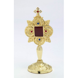 Reliquary with gemstones, gold-plated - 20 cm