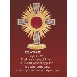 Brass reliquary, gold-plated - 13 cm