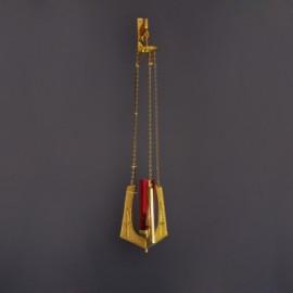 Hanging sanctuary lamp, brass