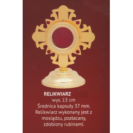 Brass reliquary, gold-plated with rubies - 13 cm