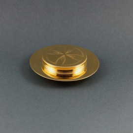 Paten for the sick a small, gold-plated brass 11 cm