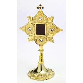 Reliquary with precious stones, gold-plated - 25 cm