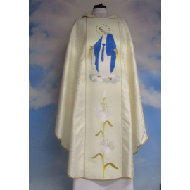 Embroidered chasuble, ecru belt - MB Rosary