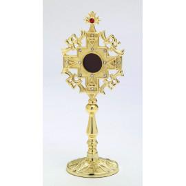 Reliquary with precious stones, gold-plated - 24 cm