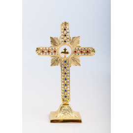 Modern standing cross, brass, gold plated - 25 cm