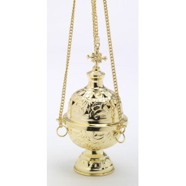 Thurible brass, gold-plated, decorated - 18 cm