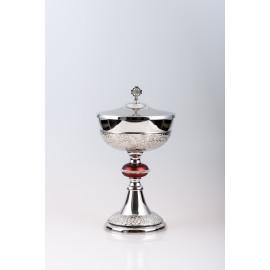 Ciborium, brass, nickel plated, silver plated - 27 cm (45)