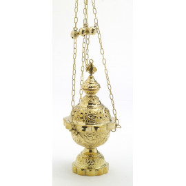 Brass thurible, decorated - 25 cm